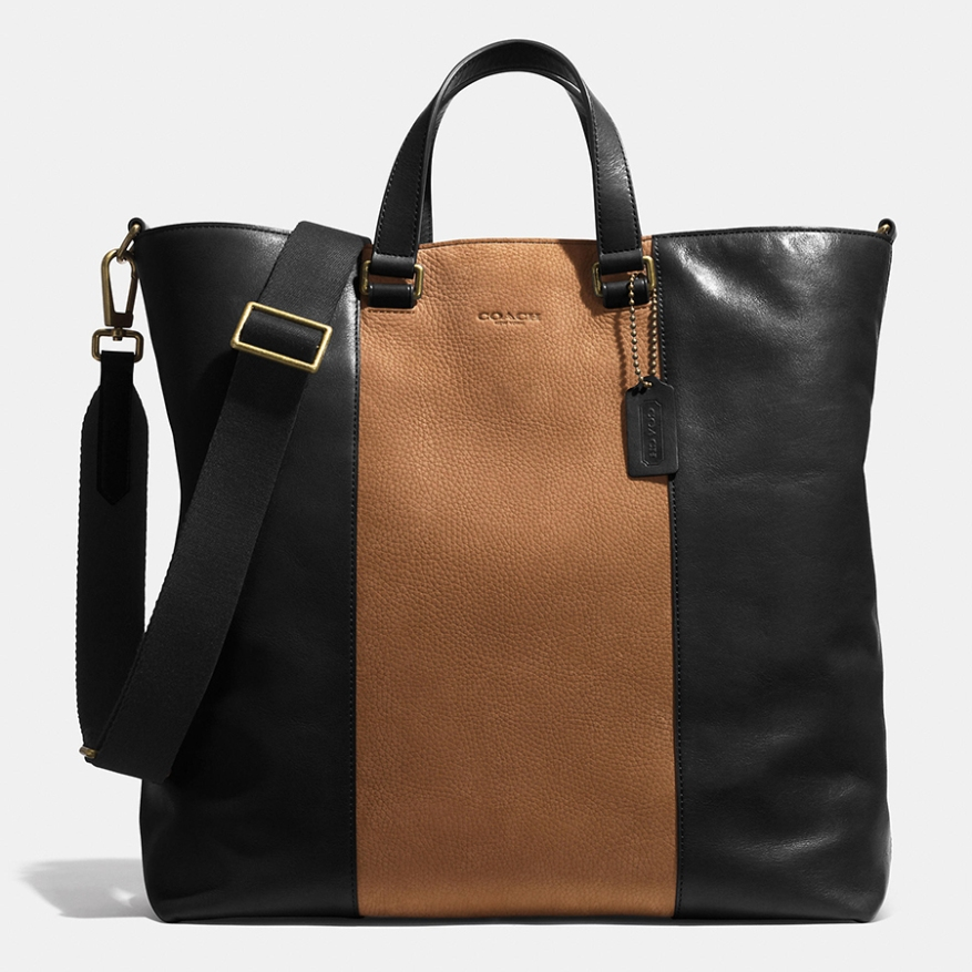 Black leather. Fawn center stripe.
