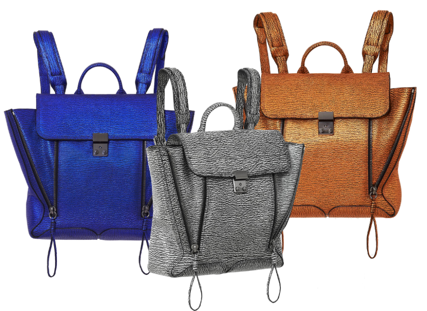 Pashli Backpacks in textured leather: electric blue, black cream, and copper.