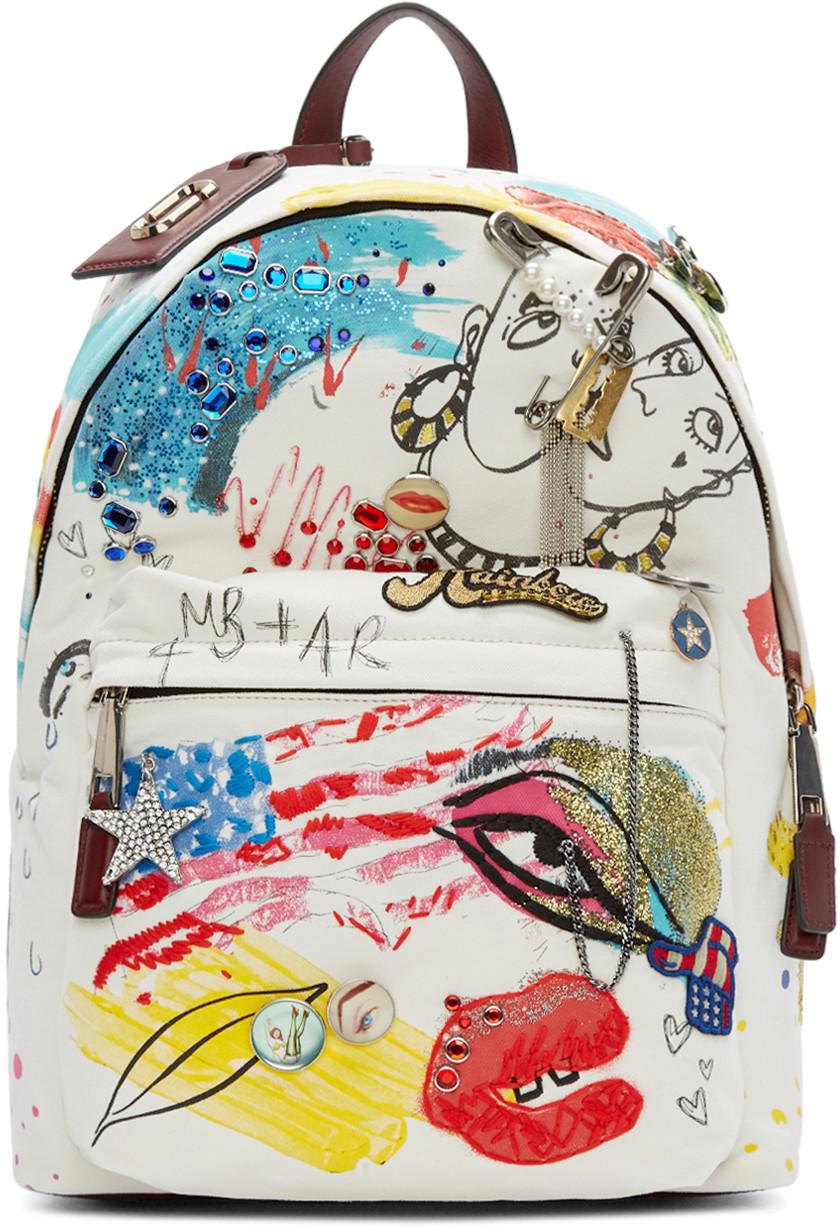 MJ Ecru Canvas Collage Backpack