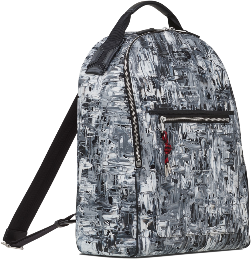 black-and-white-painted-denim-backpack