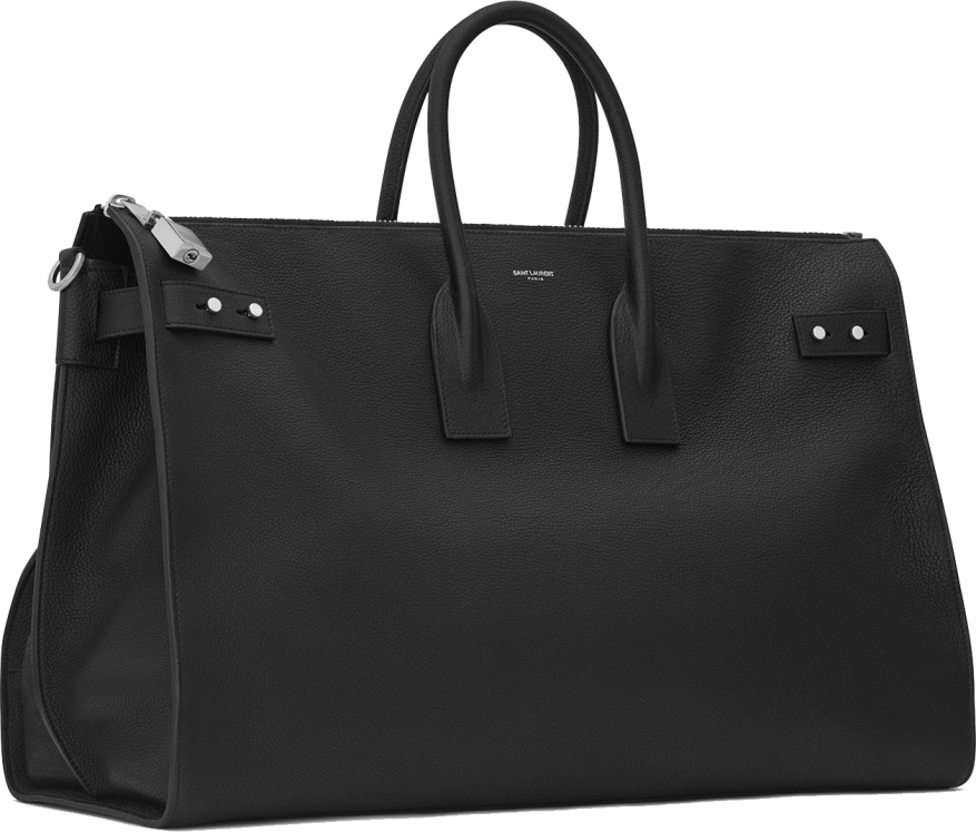 LARGE SAC DE JOUR SOUPLE 48H DUFFLE BAG IN BLACK GRAINED LEATHER 4