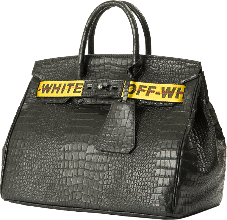 Off White Black Textured Leather Bag 2