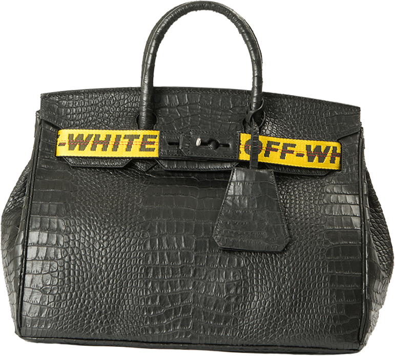 Off White Black Textured Leather Bag 3