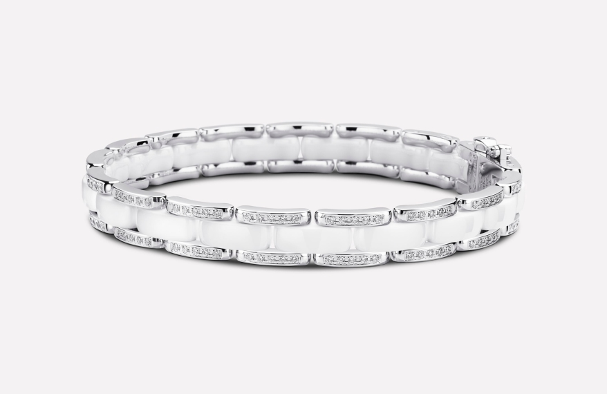 ULTRA BRACELET White Ceramic 18K white Gold with diamonds