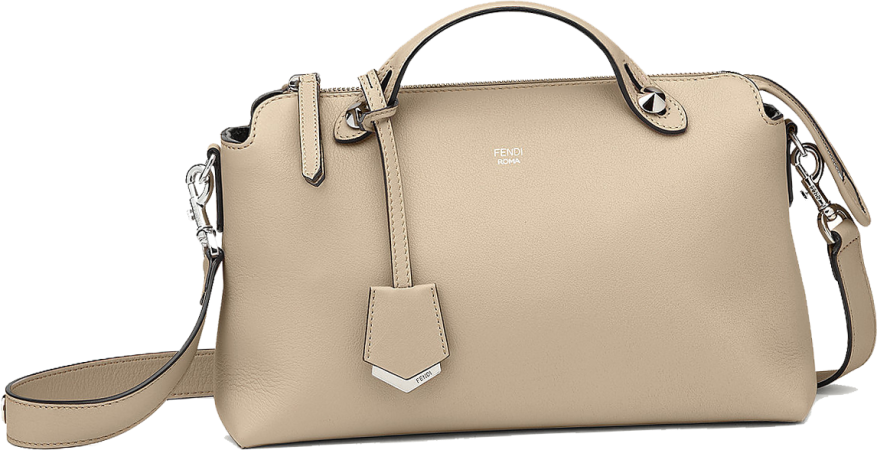 Fendi By The Way Small Boston bag in beige leather 1